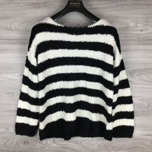 Lou & Grey White / Black Stripe Faux Fur Sweater